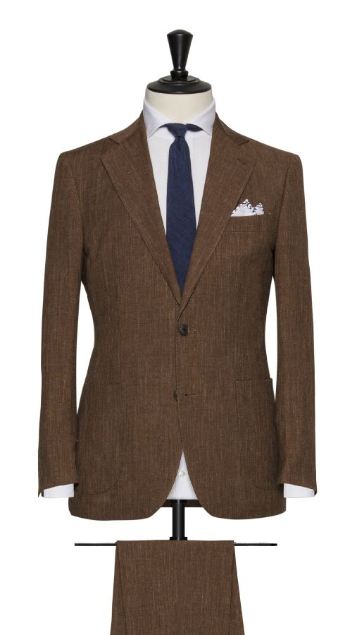 Brown Linen, Wool and Silk Plain Suit