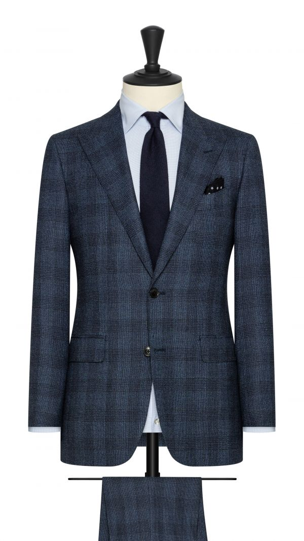 Blue, Black and White Check Suit