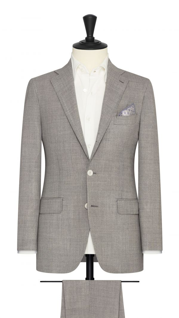 Light Grey and White Pinstripe Suit