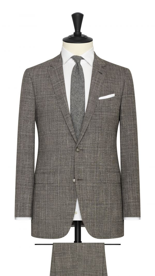 Brown and White Glencheck Summertime Suit