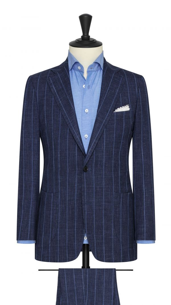 Bold Navy Suit With Fine Blue Stripe