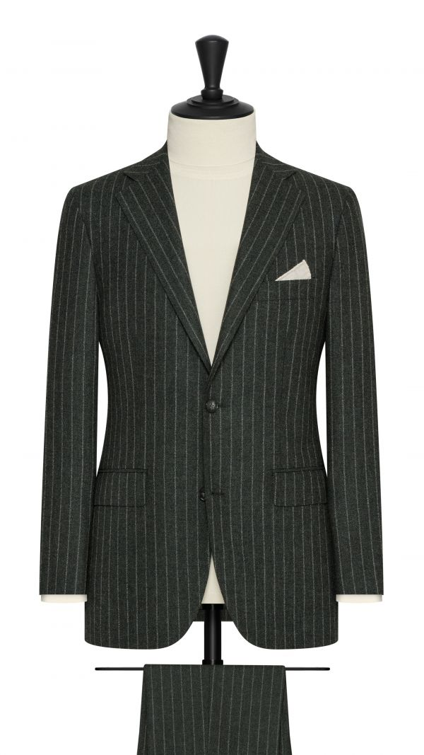 Forest Green Chalk Stripe Suit