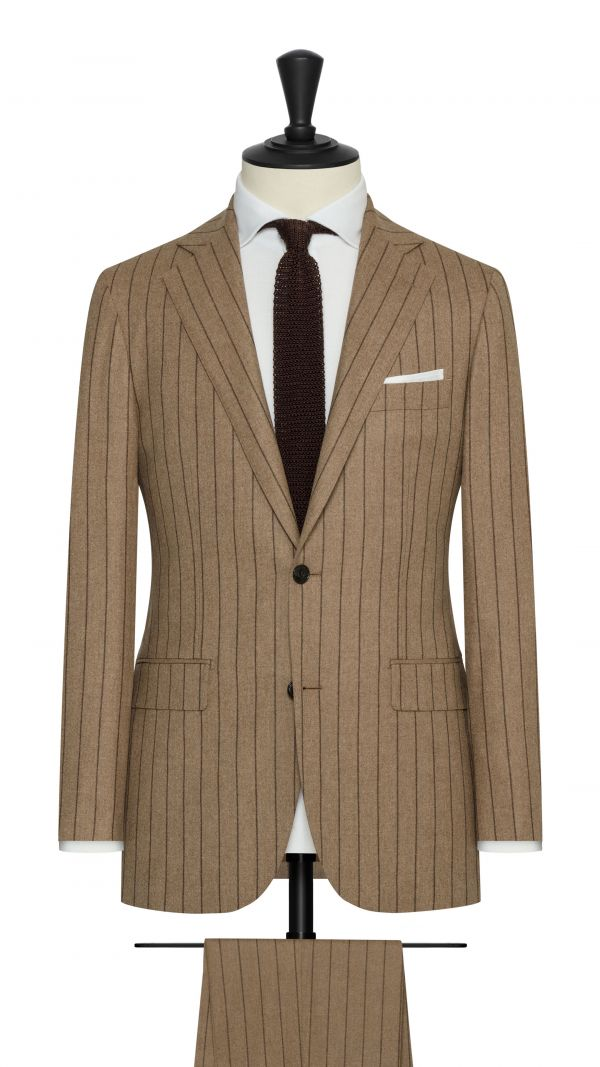 Camel Wool and Silk Blend Stripe Suit Suit