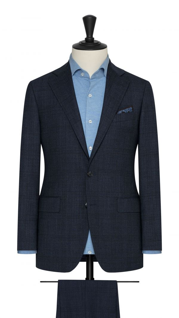 Dark Blue Stretch Check Suit