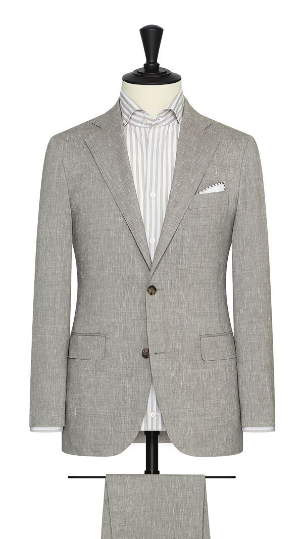 Taupe Wool, Linen and Silk Blend Suit
