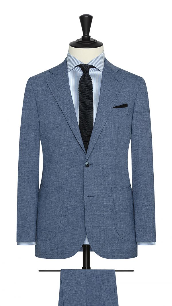 Blue Mélange Stretch Wool Blend Suit