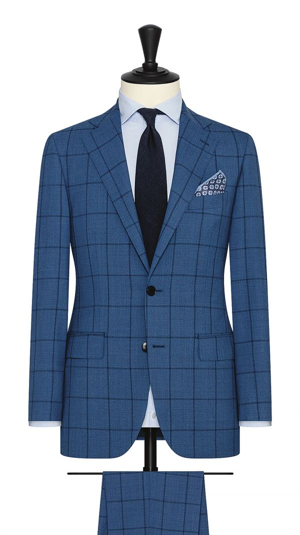 Blue S130s Windowpane Suit