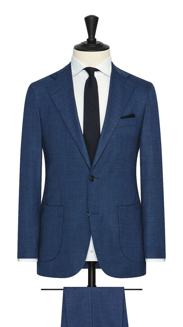 Blue Stretch Wool-Silk Blend Suit