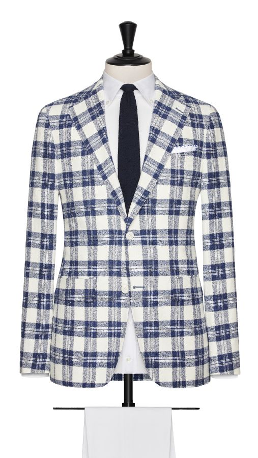 Blue and White Cotton, Polymide, Wool and Linen Check Jacket