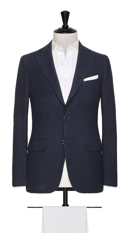 Navy Blue Cotton, Polymide, Wool and Linen Jacket