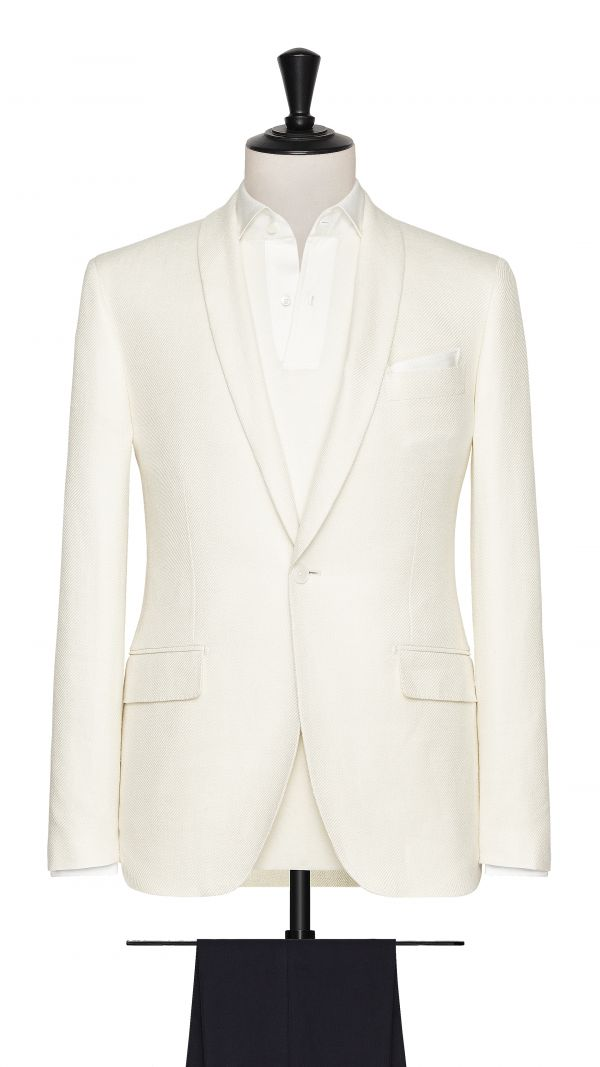 White Linen, Silk and Cotton Twill Jacket
