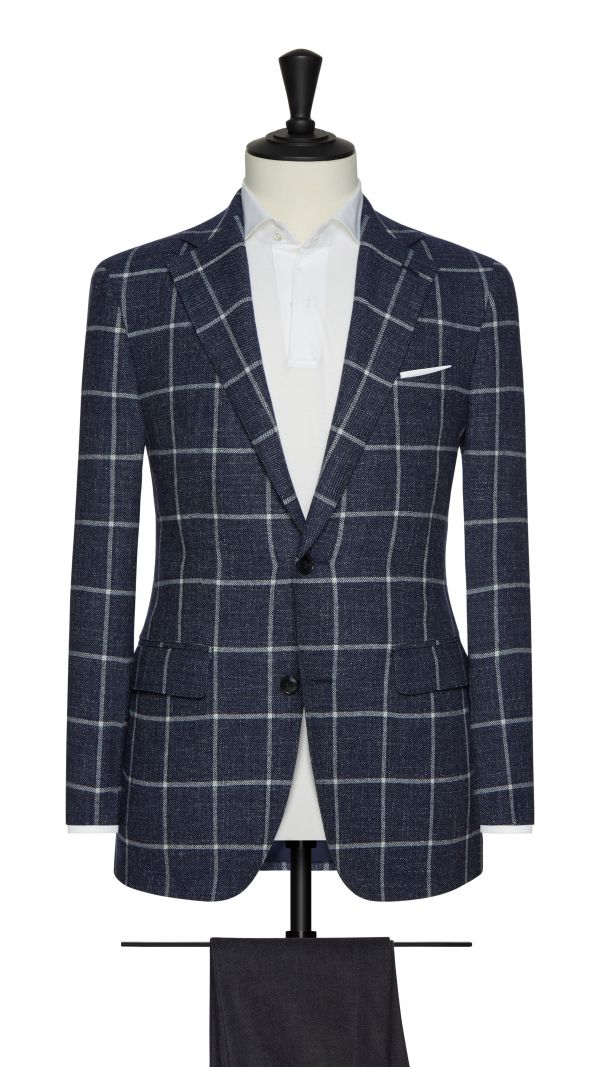 Blue and White Check Jacket