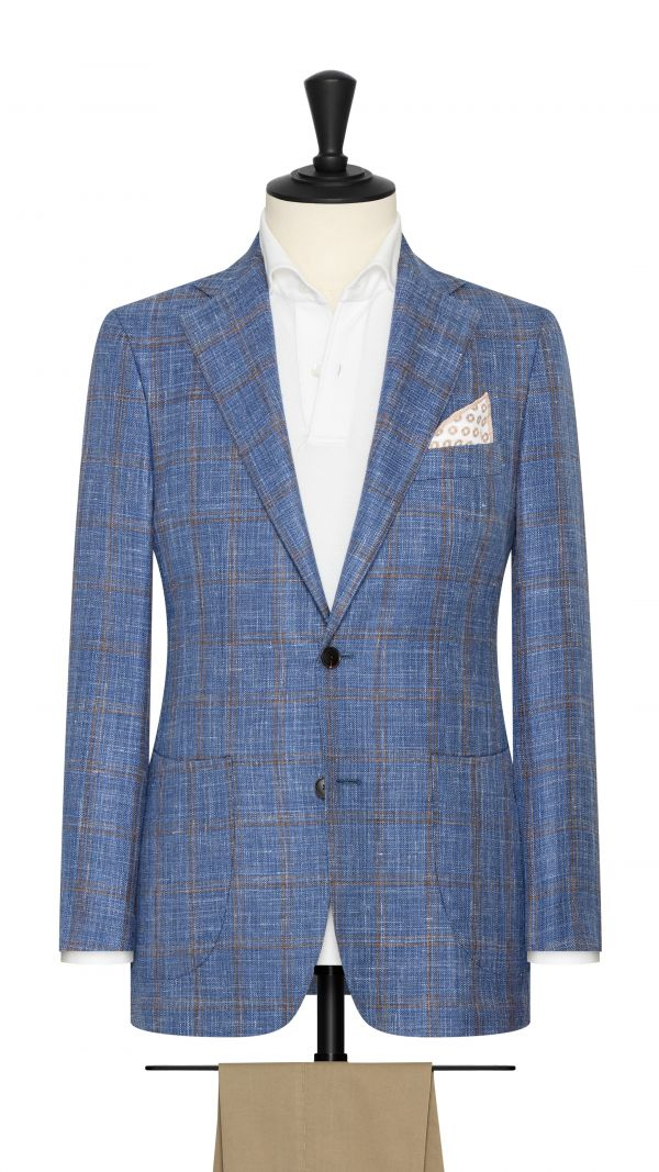 Sky Blue Windowpane Check Jacket