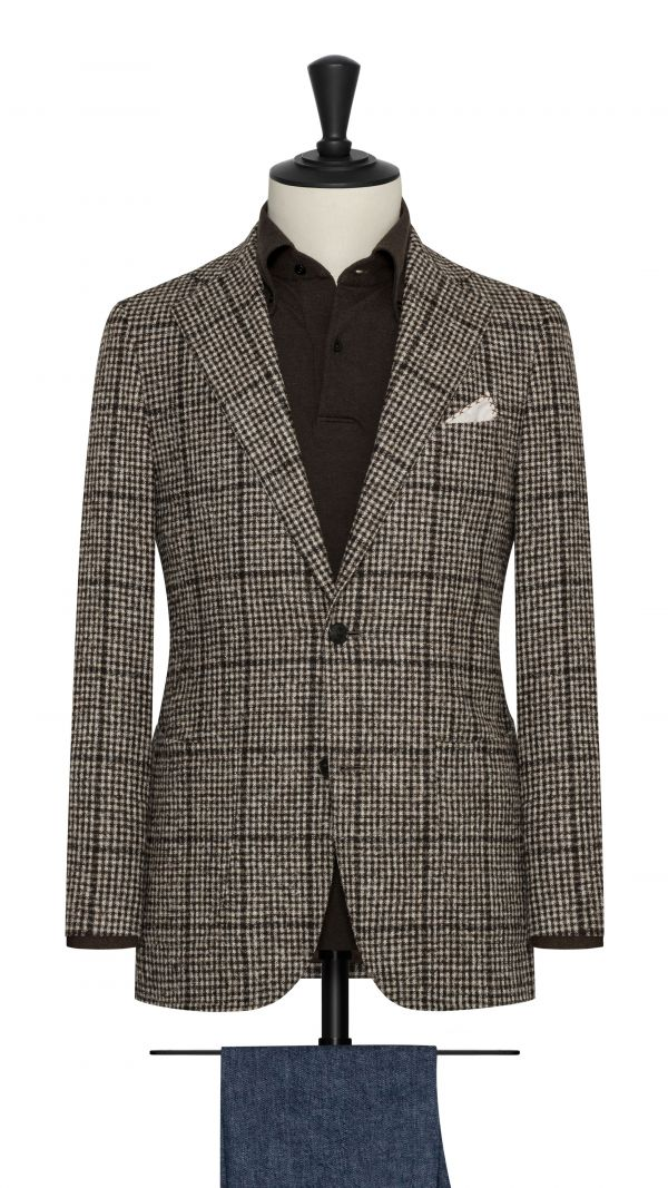 Brown Houndstooth Jacket with Windowpane
