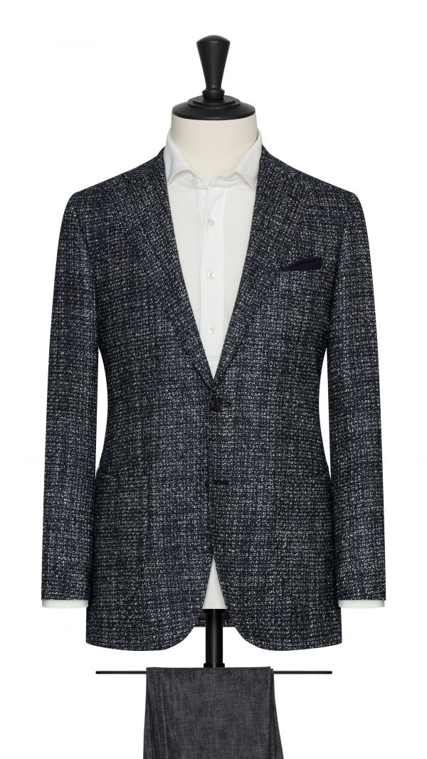 Black and White Alpaca Blend Micro Check Jacket