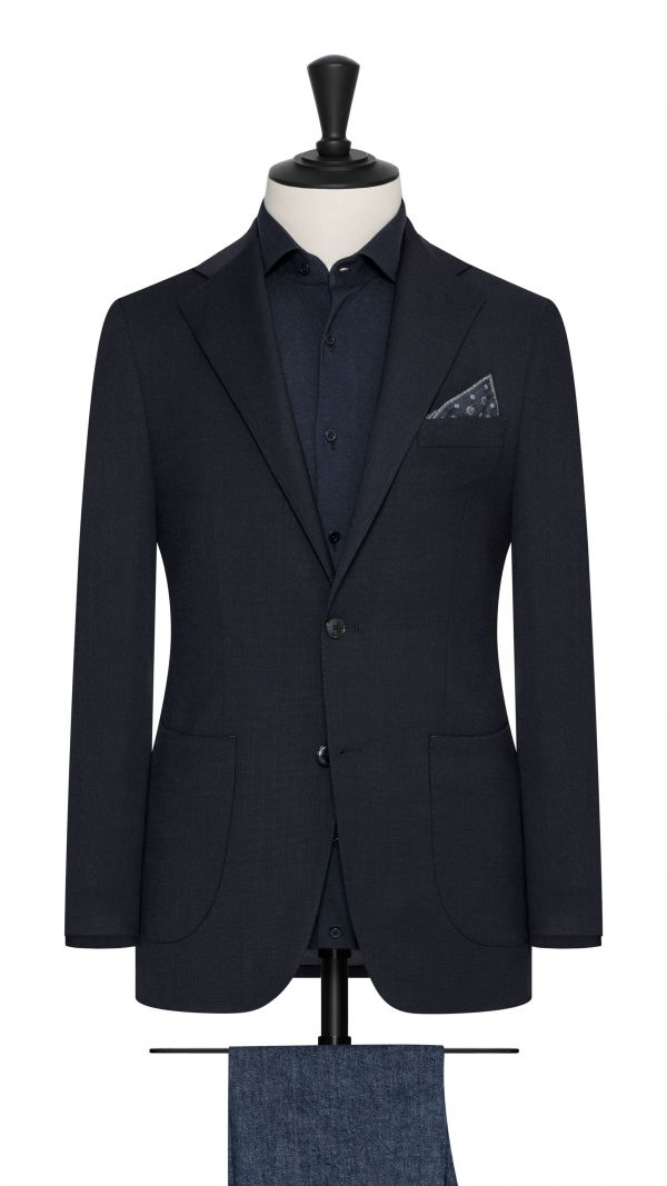 Navy Stretch Wool Blend Jacket