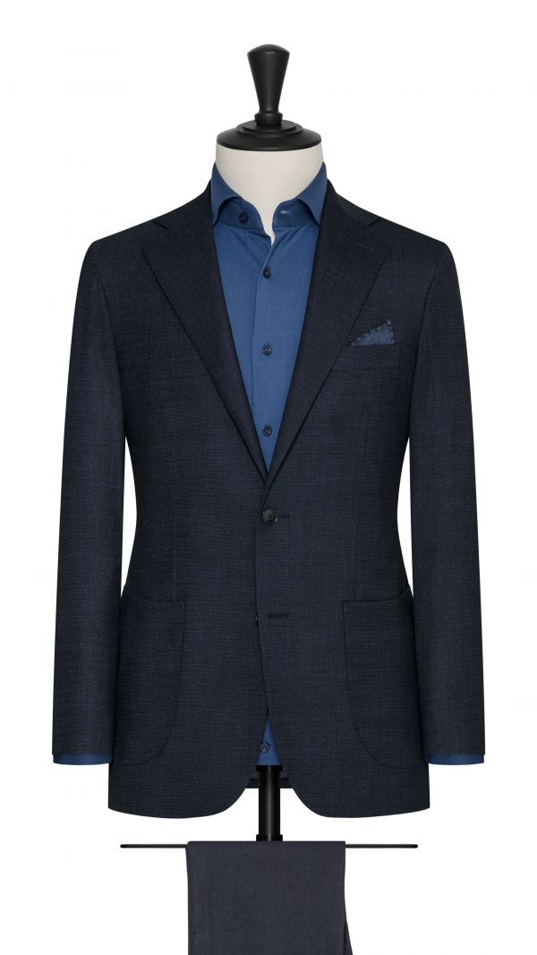 Blue Stretch Wool Blend Jacket