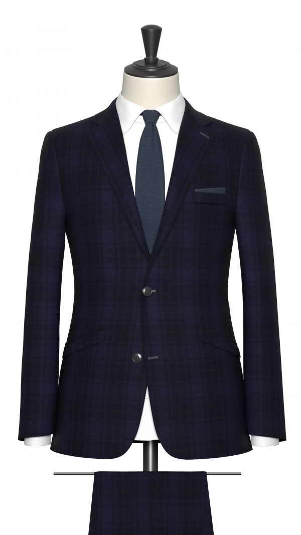 Blue and Brown Check Suit