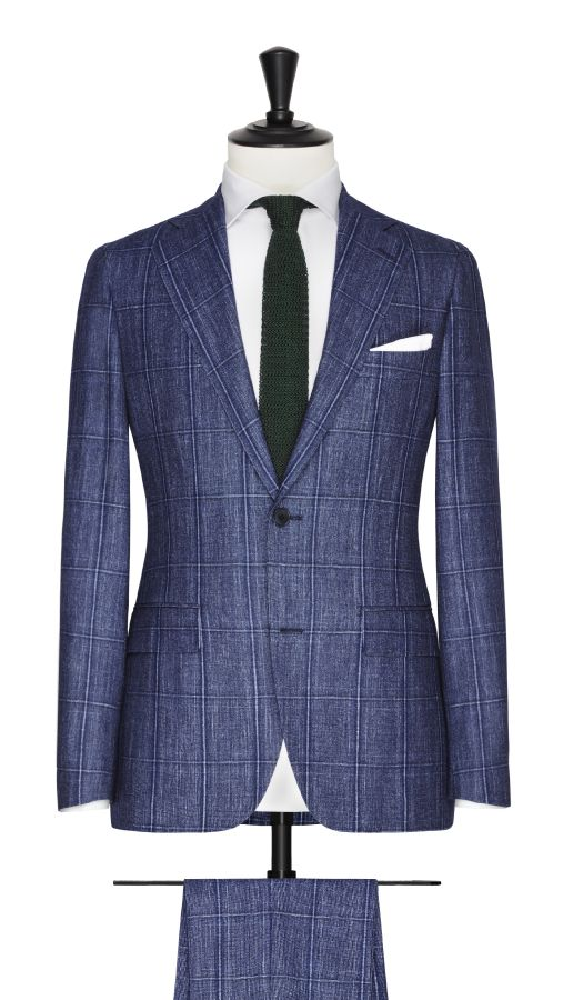 Blue Wool, Silk and Linen Check Suit