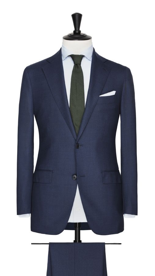 Blue Wool and Silk Stretch Suit