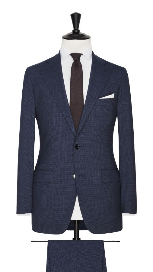Blue Wool and Silk Stretch Houndstooth Suit