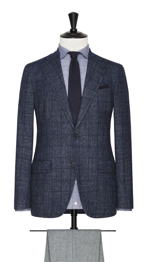 Blue Wool and Cotton Check Jacket