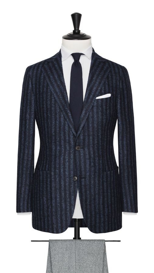 Blue Wool and Cotton Stripe Jacket