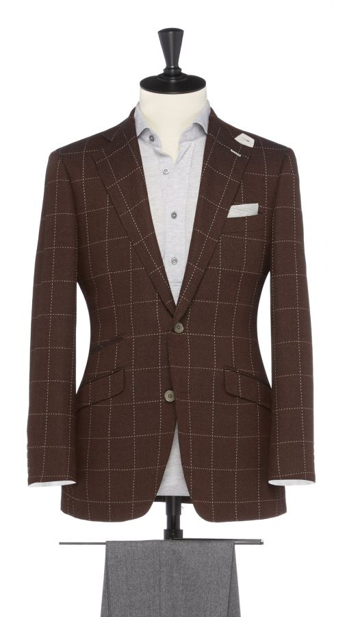 Brown Wool Check Jacket