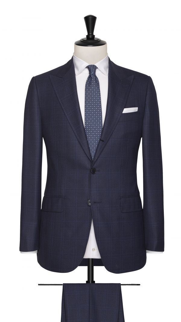 Blue and Black Wool Check Suit