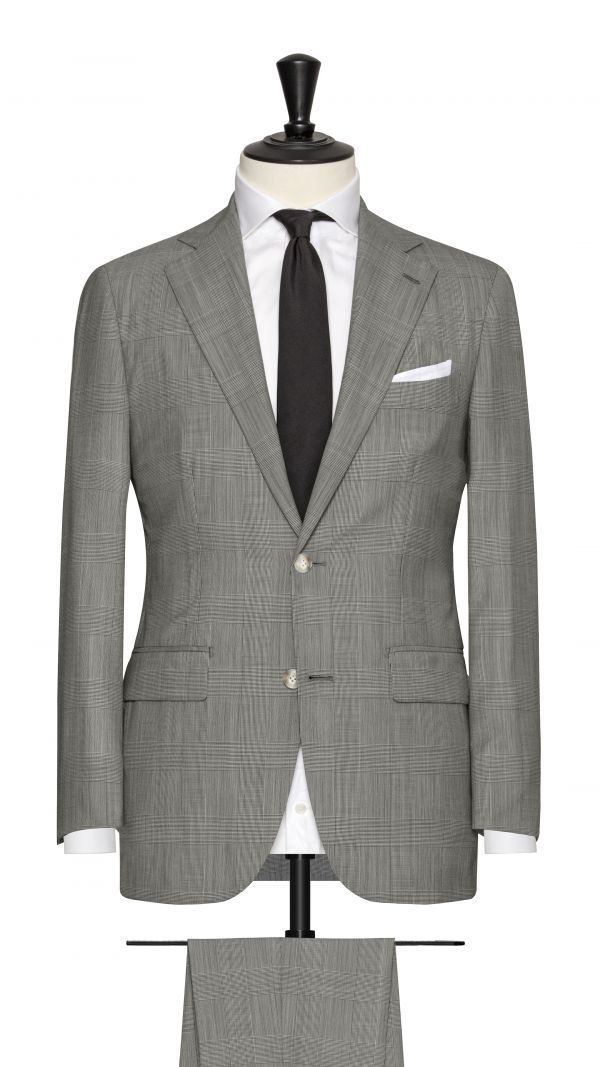 Black and White Wool Check Suit