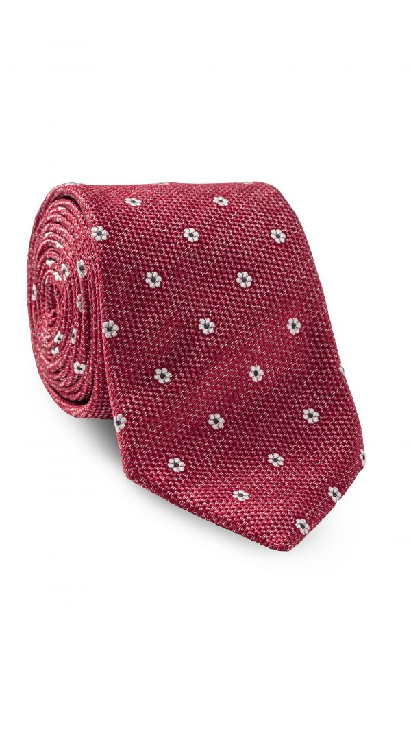 Red with Off White Floral Design Tie