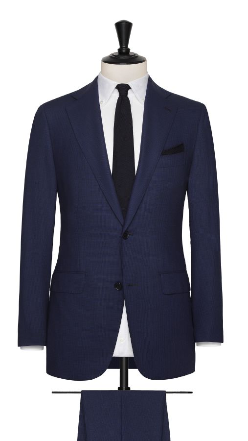 Blue Wool Puppytooth Suit