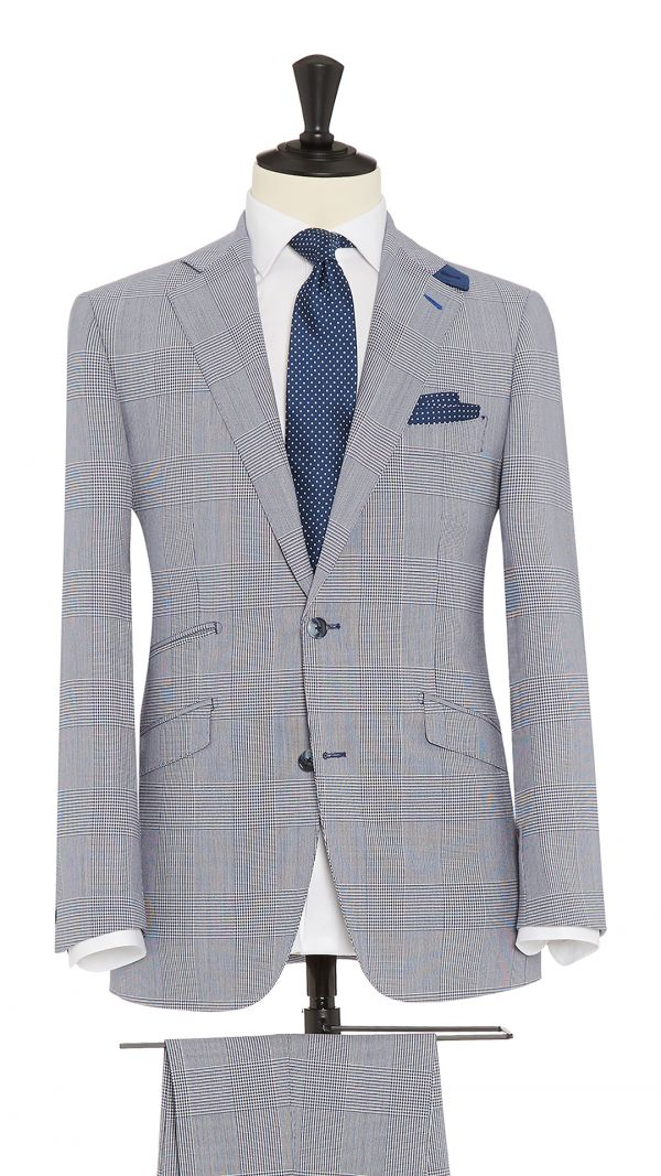 Blue Wool Glen Check Suit