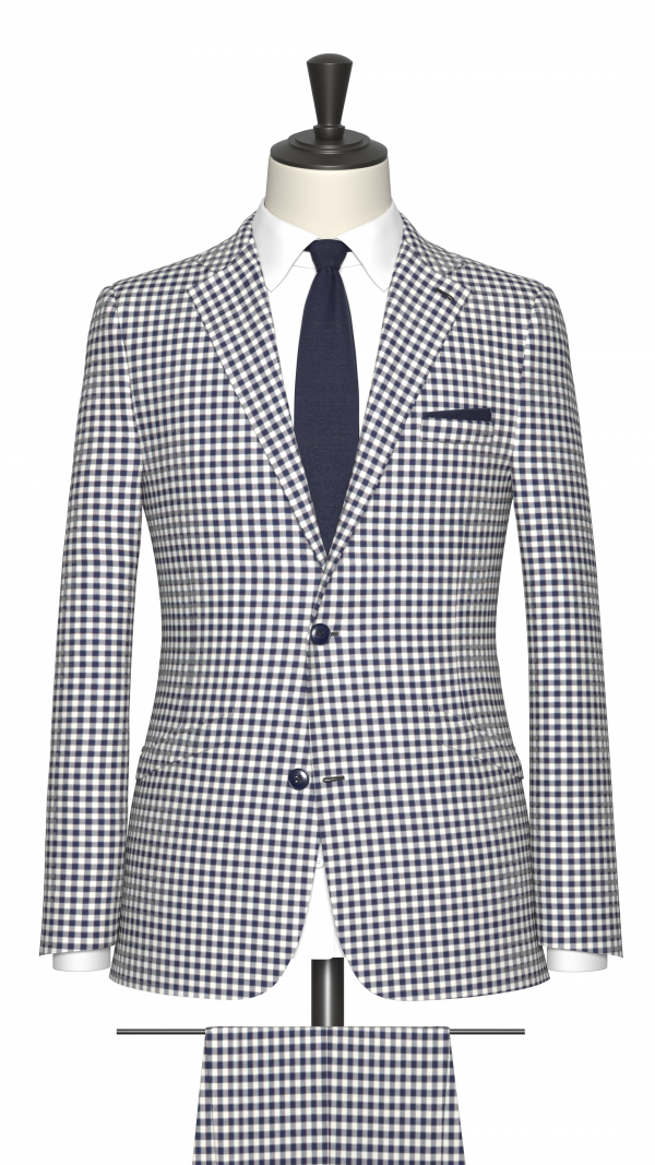 Blue and White Check Suit
