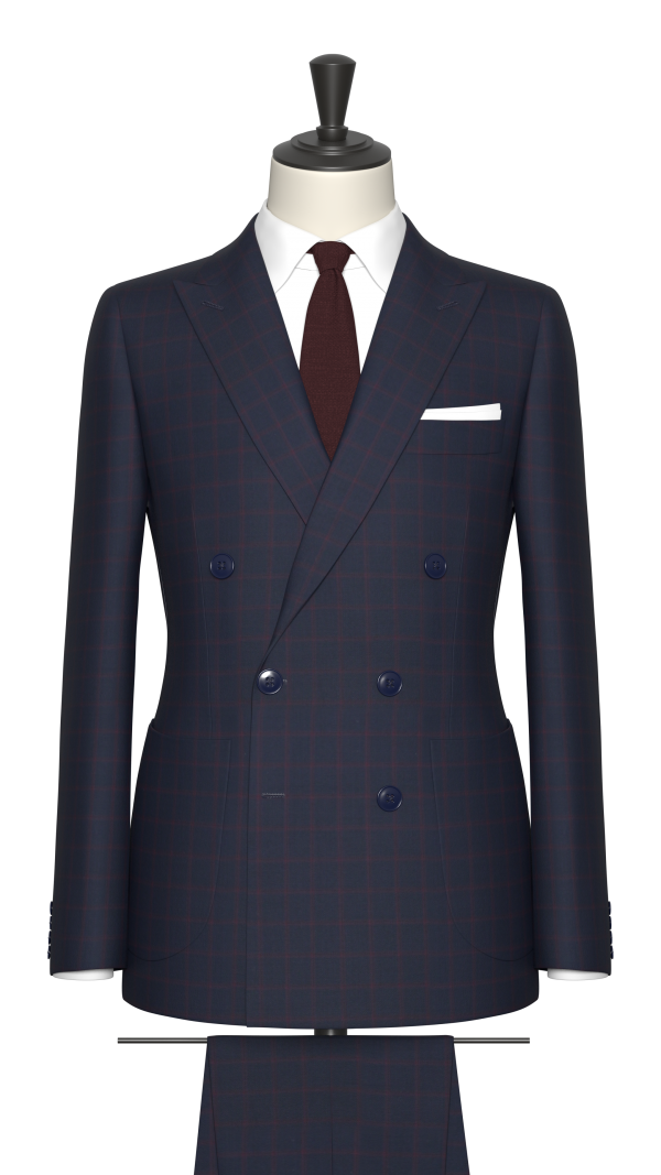 Blue and Red Check Suit
