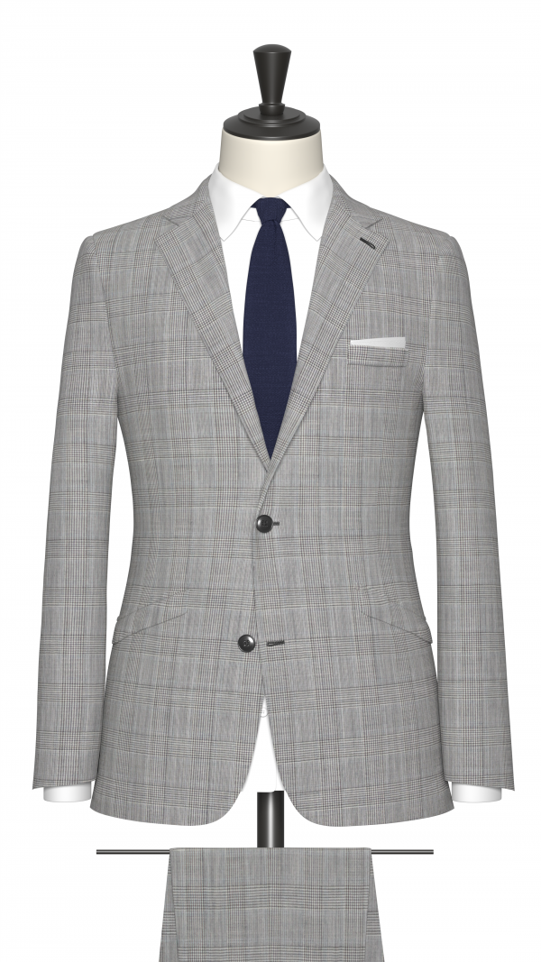 Grey and Blue Check Suit
