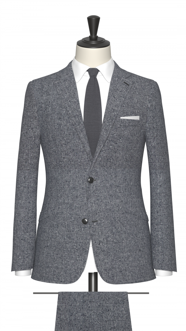 Blue, Grey and White Boucle Check Suit