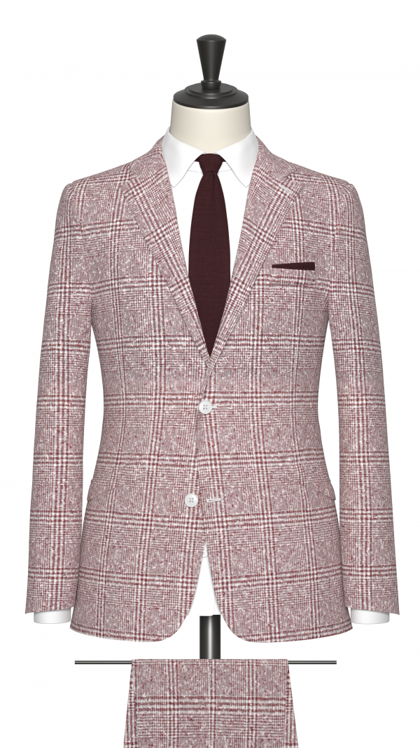 Red and White Boucle Check Suit
