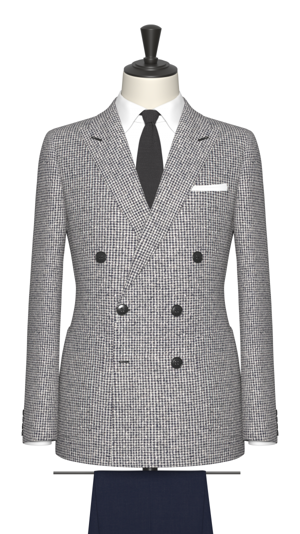 Blue, Grey and White Houndstooth Jacket