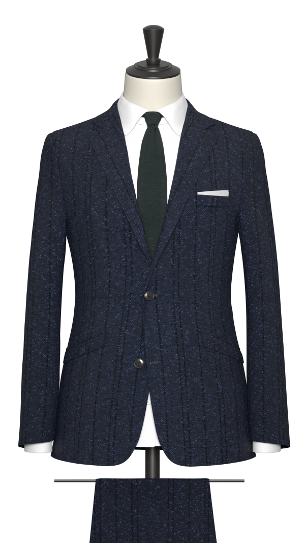 Bright blue boucle check suit