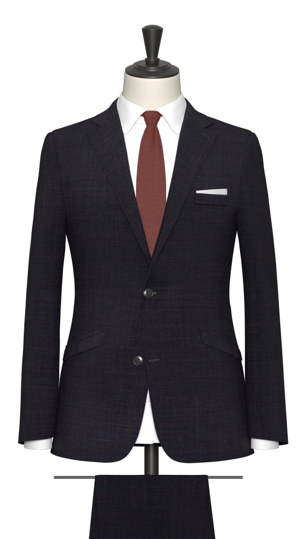 Navy and claret check Suit