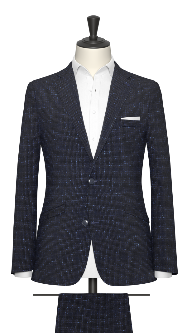 Navy and Royal Blue Slub Check Suit