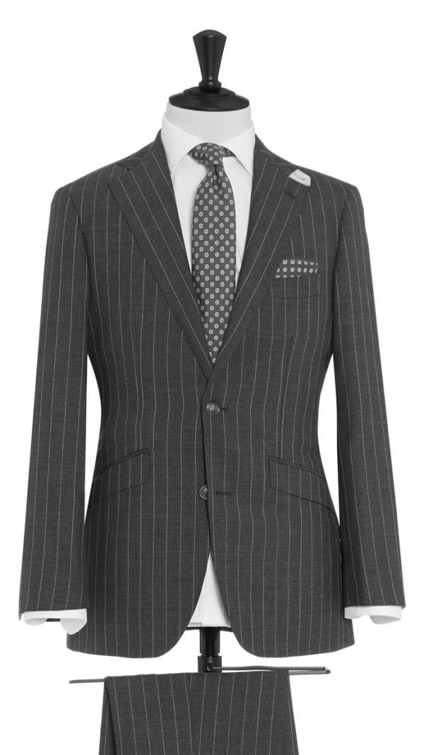 Mid Grey Wool Stripe Suit