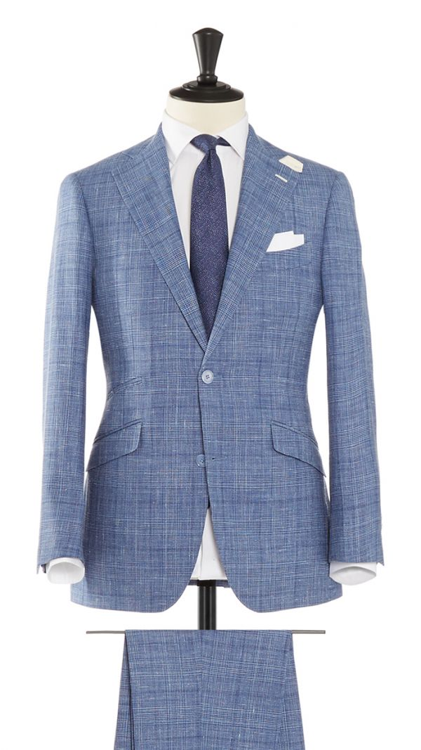 Blue and Silver Wool, Linen and Silk Check Suit