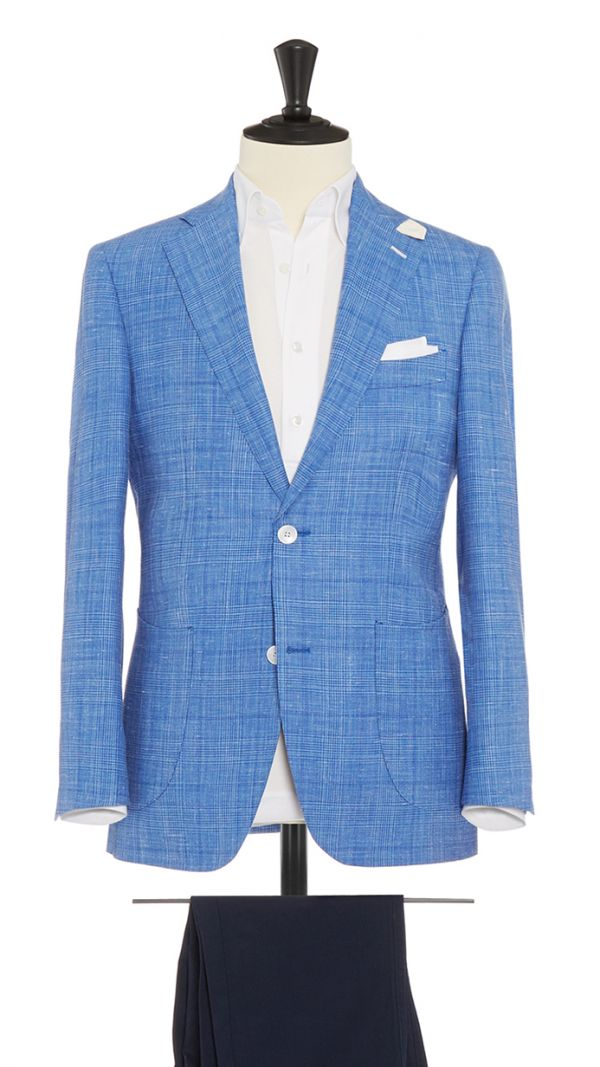 Blue and White Wool, Linen and Silk Check Suit
