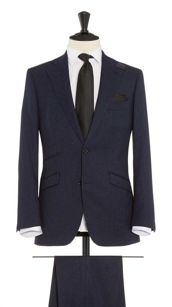 Blue and Black Wool and Cashmere Striped Suit