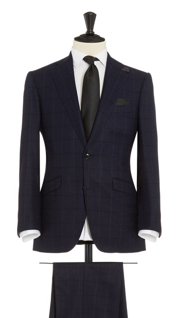 Blue and Black Wool and Cashmere Check Suit