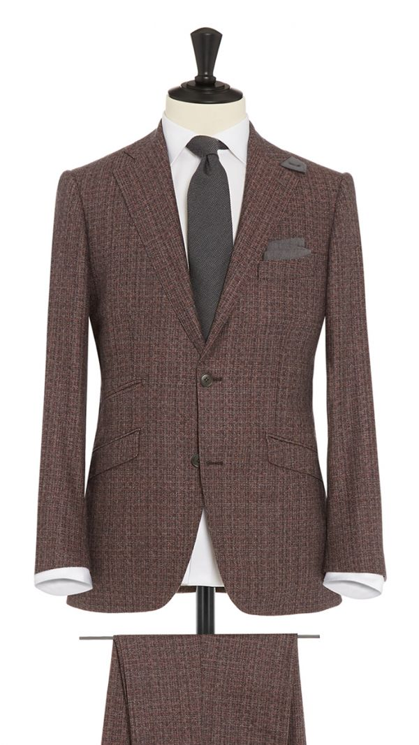 Burgundy and Grey Wool and Cashmere Geometric Suit