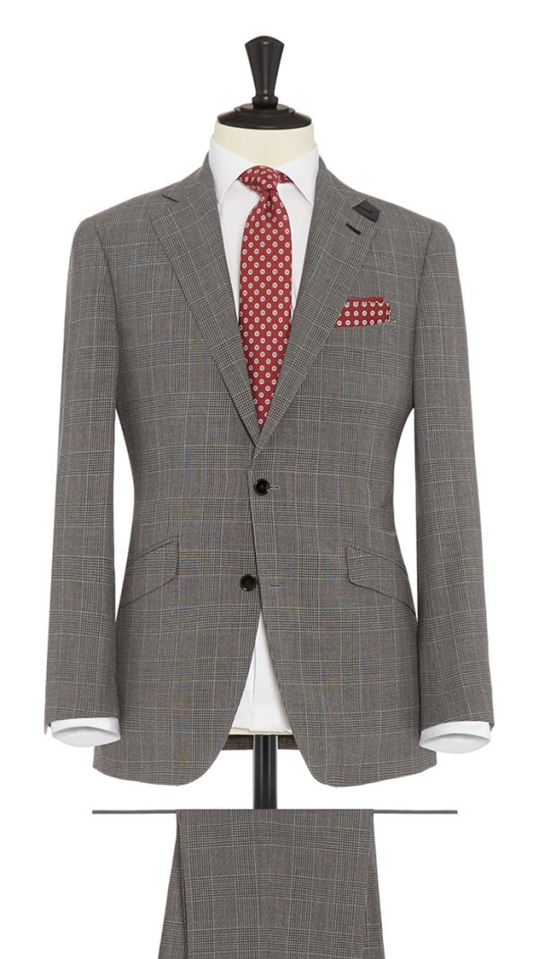 Grey and Silver Wool with Stretch Check Suit