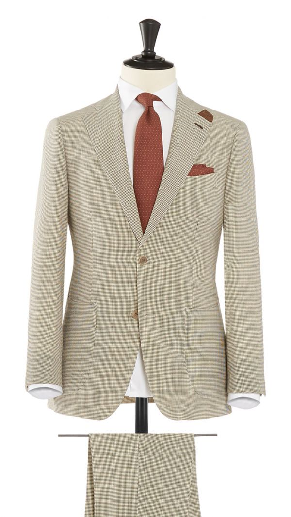 Brown Wool with Stretch Gingham Check Suit